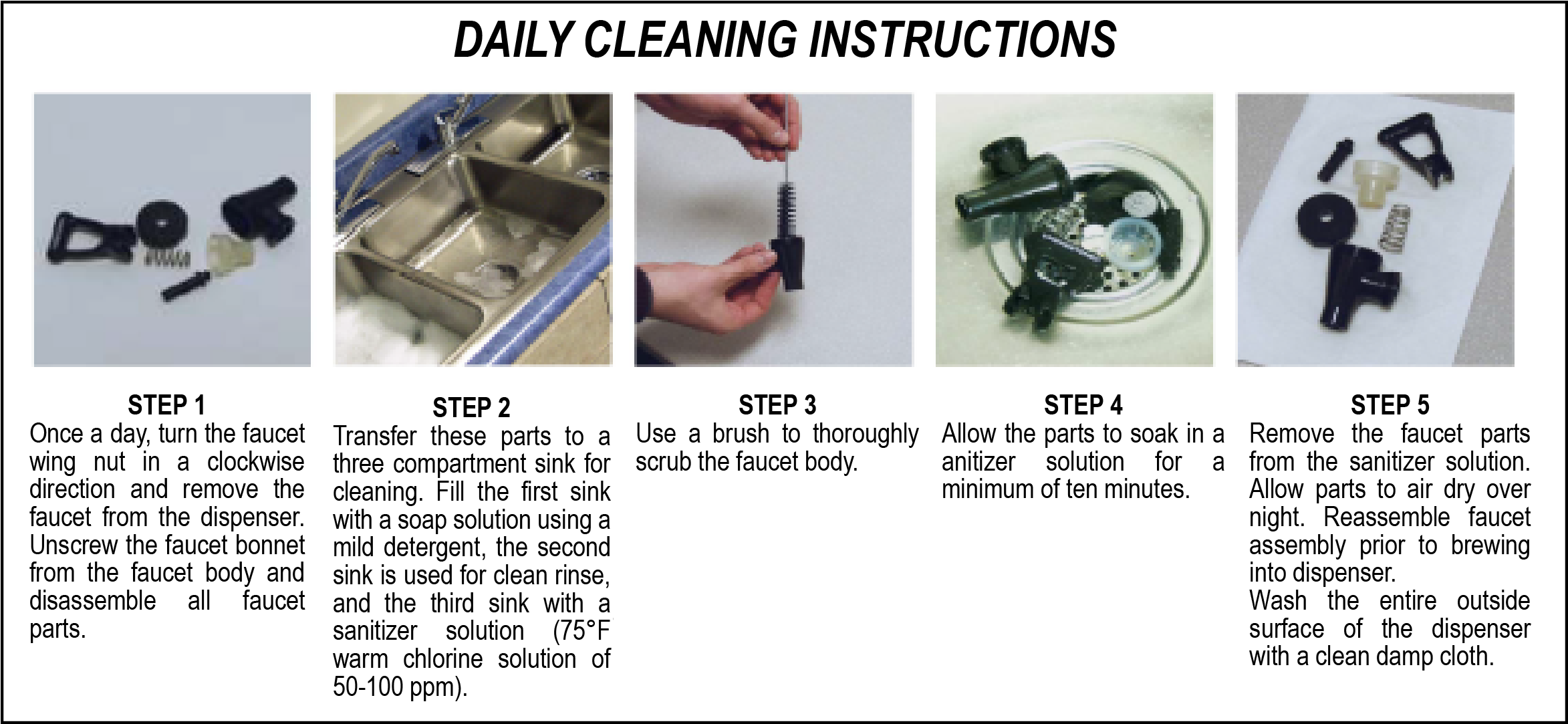 Daily Tea Urn Cleaning Instructions