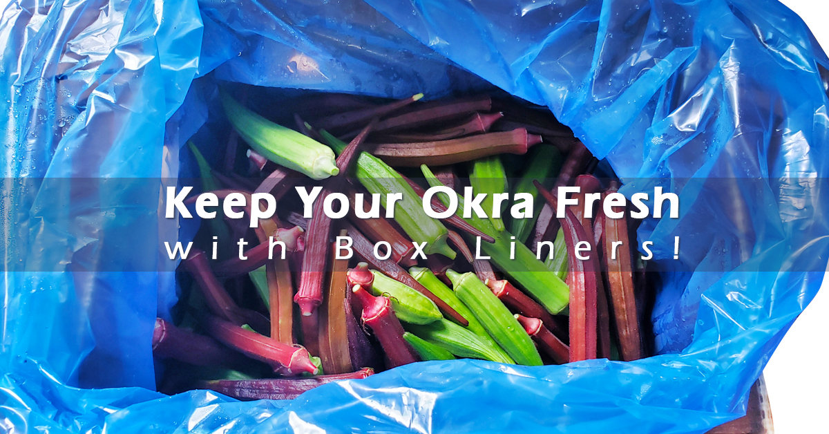 box liner filled with okra