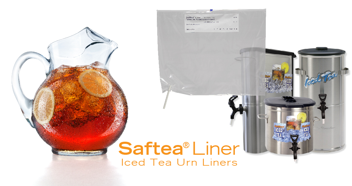 Saftea Liner shown with pitcher of iced tea and urns