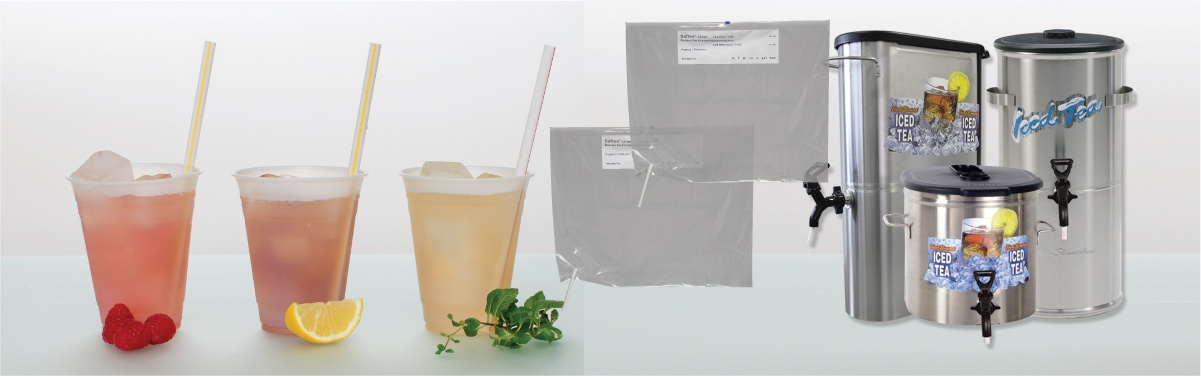 Saftea Liners, urns, and iced tea glasses