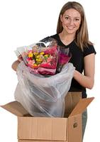 box liner with floral arrangement