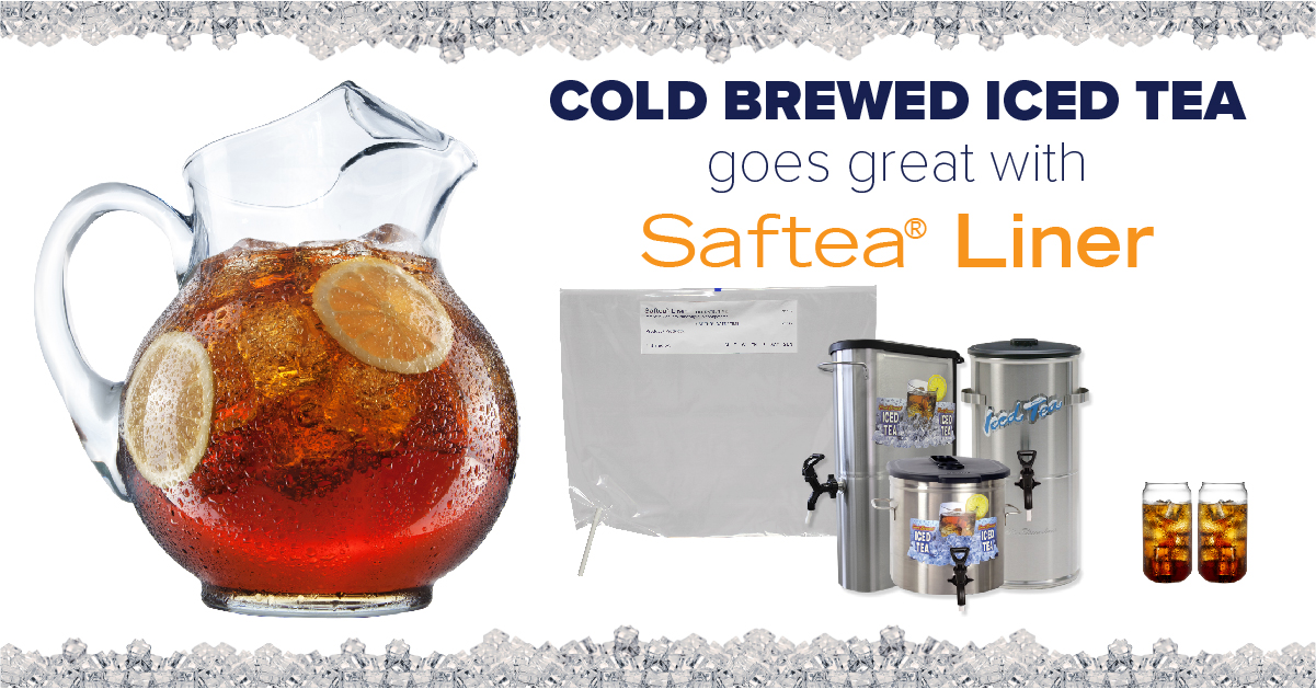 cold brewed iced tea and Saftea Liner
