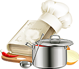 cook book and chef hat