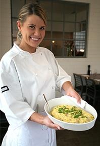 girl serving dish