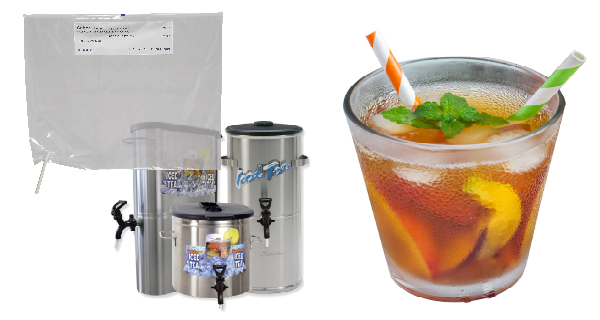 Saftea® Liner iced tea urn liner with glass of iced tea