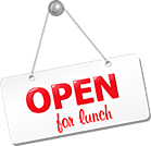 open for lunch sign
