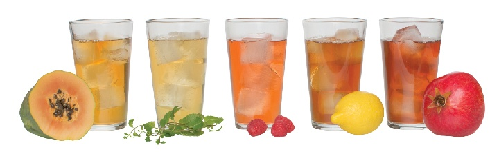Iced beverages in glasses